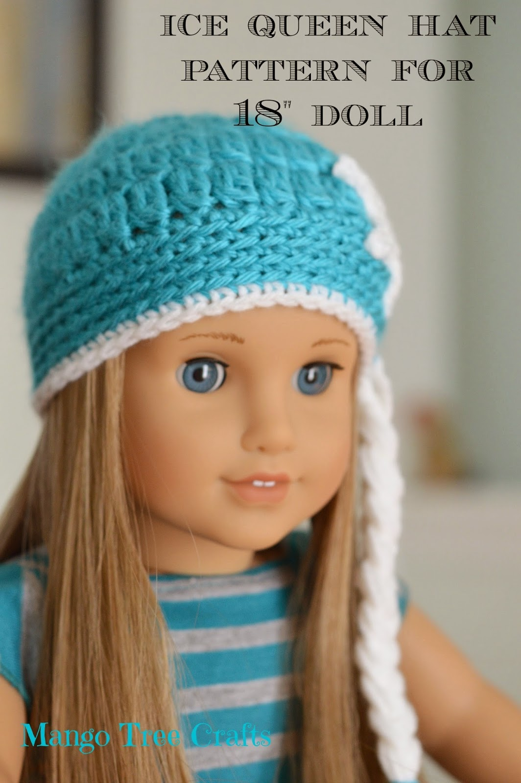 Knitting Pattern For A Dolls Hat : Mango Tree Crafts: Ice Queen Crochet Hat Pattern for 18