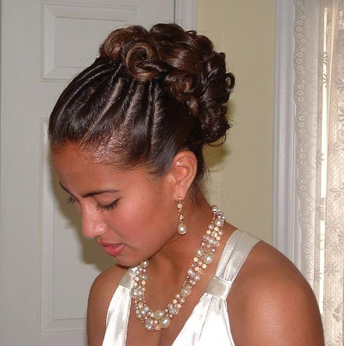 African and American Up Dose Bridal Hairstyle