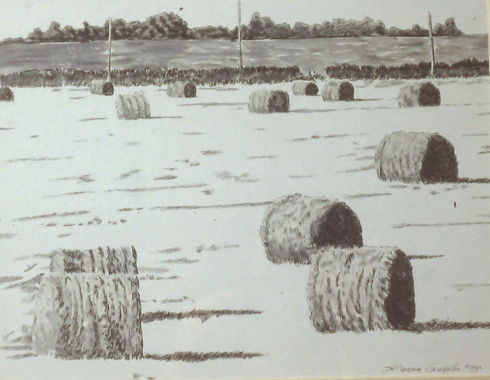 """Field near Battledykes, Forfar, Angus, Scotland""  Pen and Ink Wash by F. Lennox Campello. 1992. 28x40 inches"
