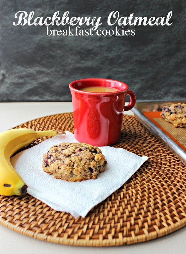 "Renee's Kitchen Adventures: Blackberry Oatmeal Breakfast Cookies.  Hearty ""cookies"" perfect for an on-the-go breakfast.  #cookies #breakfast"