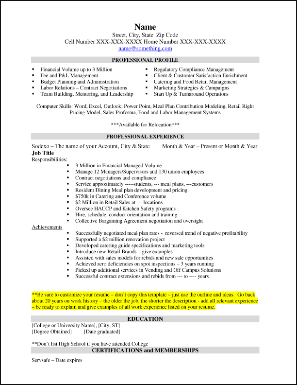 Sample Resume | Sodexo Usa Careers Blog