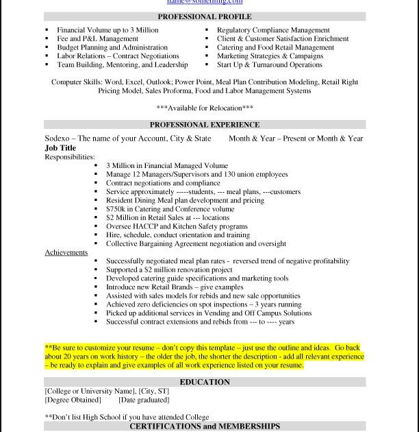 Sample Resume Sodexo USA Careers Blog