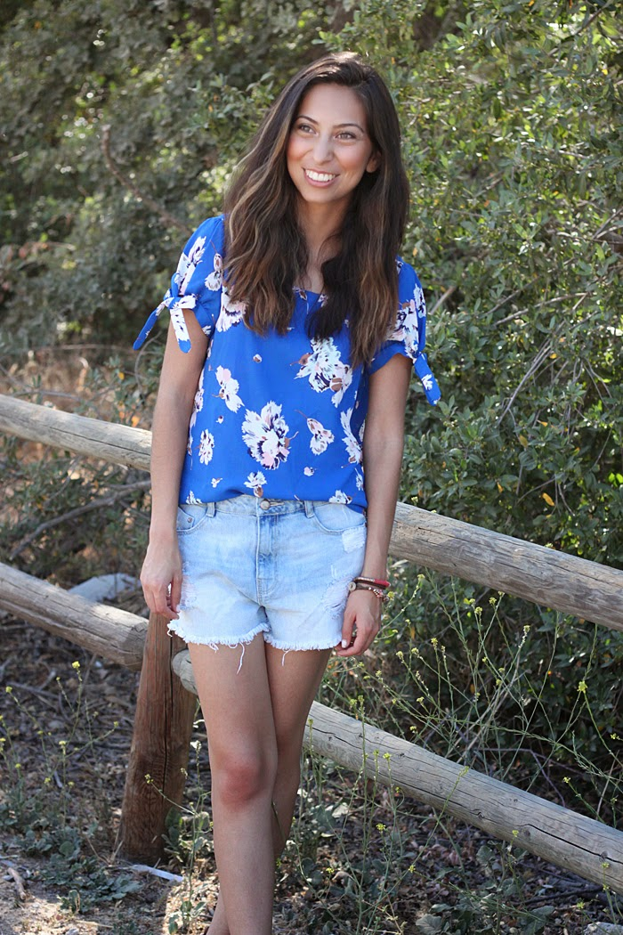 floral top, boyfriend shorts