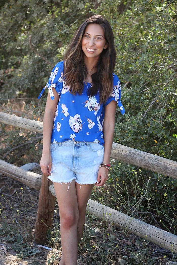 floral top, boyfriend shorts
