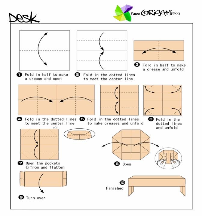 Furnitures Origami: A Desk   Paper Origami Guide