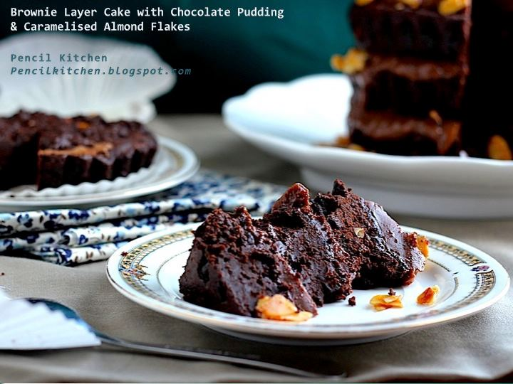 Cake With Chocolate Pudding Layer : Pencil Kitchen: Brownie Layer Cake with Chocolate Pudding ...