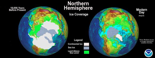 hémisphère nord de 18000 ans à aujourd'hui