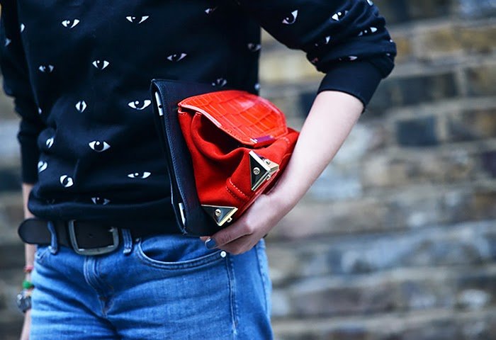 street style fashion week spring 2014, red, eye sweater
