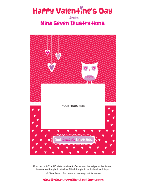 We Love to Illustrate: Free printable Valentine photo frame card!