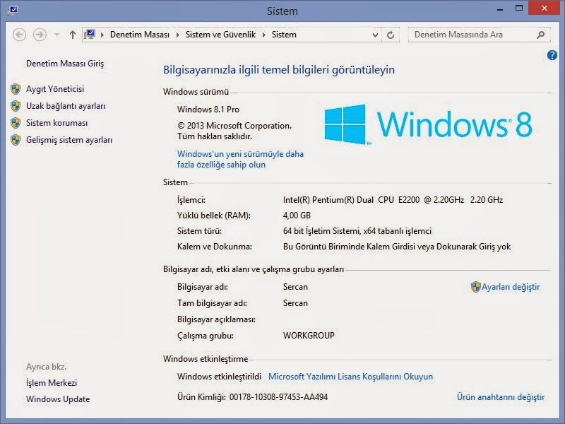 Windows 8.1 Aktivasyon Kodu