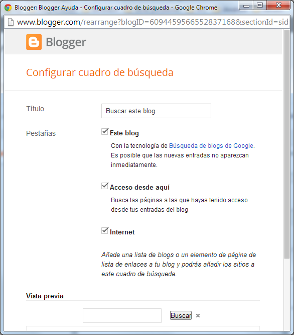 Blogger - Configurar cuadro de búsqueda
