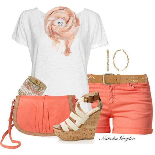 White shirt, pink hand bag, shorts and high heel sandals for girls