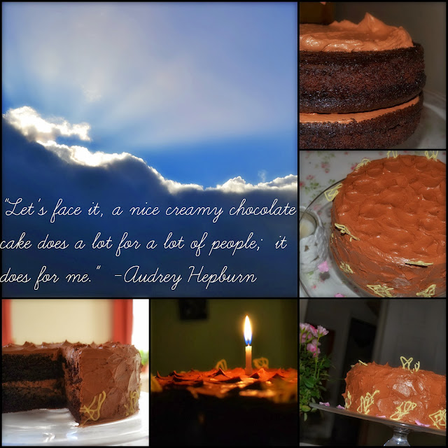Rich chocolate & coffee cake collage with quotes