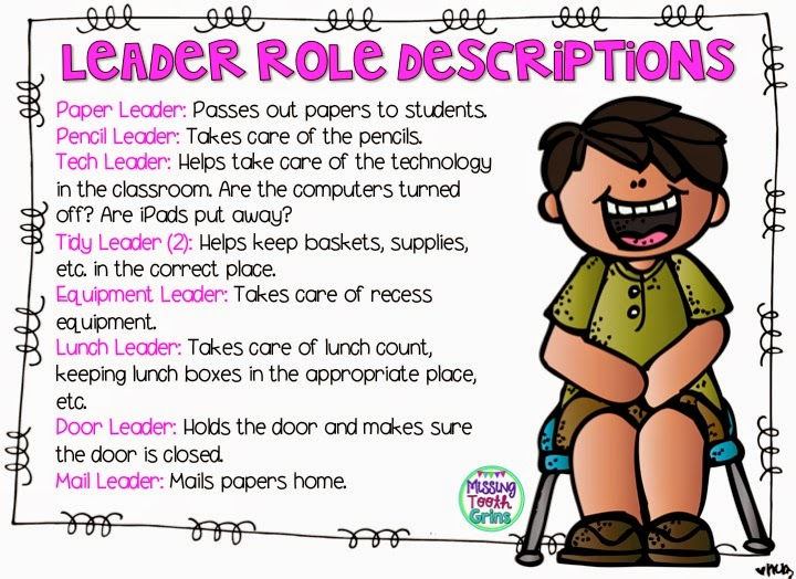 Have students apply for leadership roles in the classroom