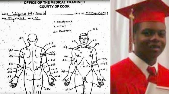 Laquan McDonald was hit with a barrage of 16 police bullets. Many entered his back.