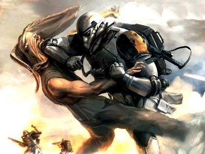 A fight between Jar Jar and a mercenary