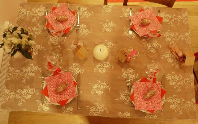 déco table noel dentelle rose