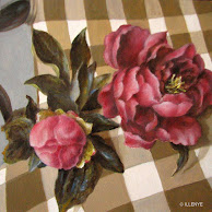 6x6 peonies on gooseneck chair