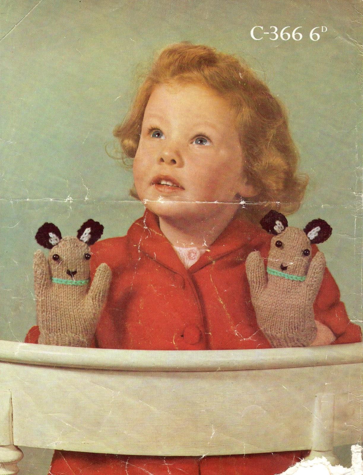 Marilla Walker Puppet Mittens Vintage Knitting Pattern