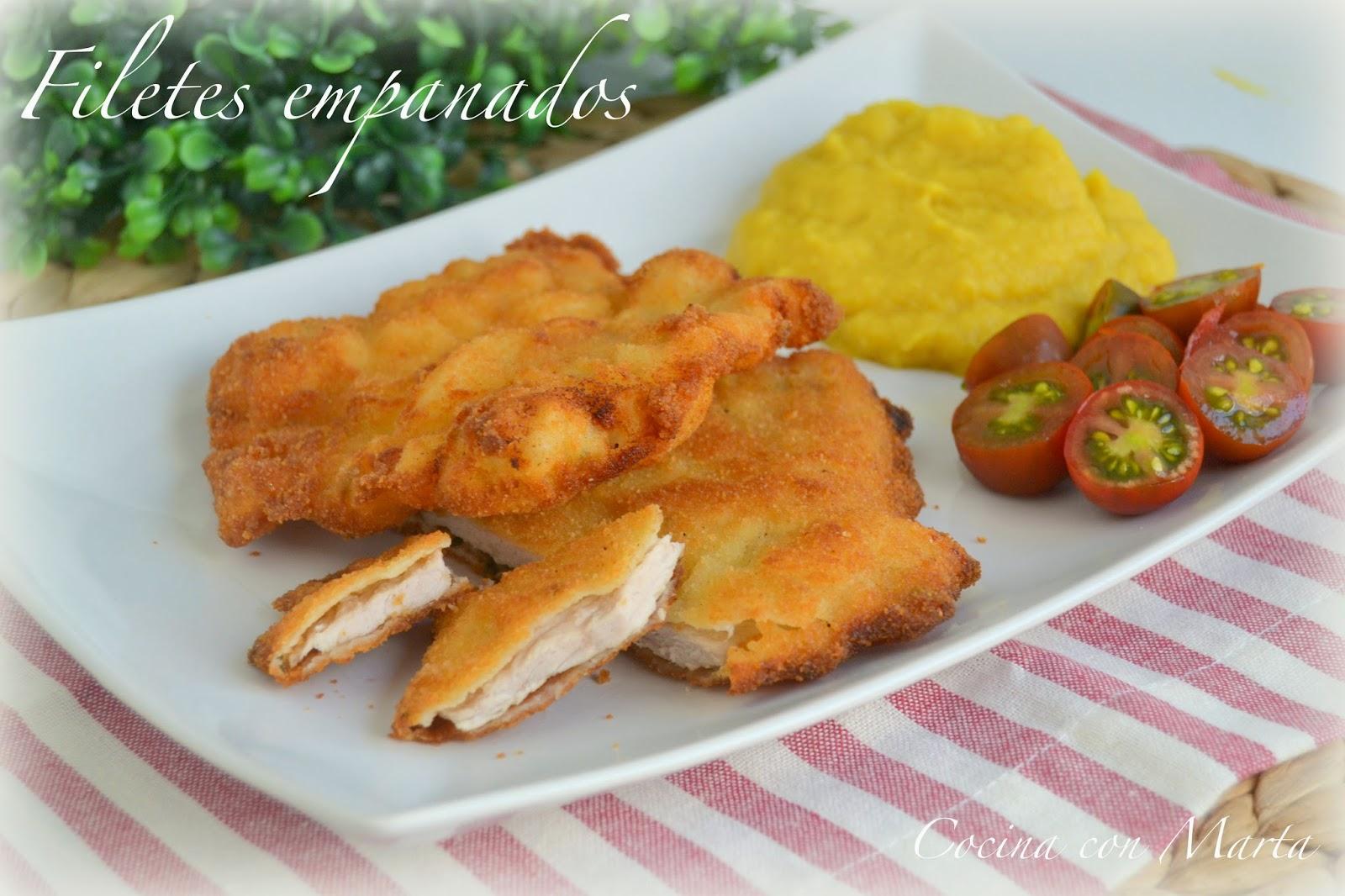 Filetes empanados. Receta fácil, tracicional, casera.