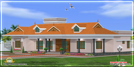 Kerala single story house model side elevation - 2800 Sq. Ft. - April 2012