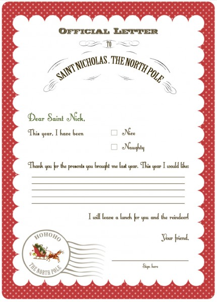 Gratifying image with letter from santa template printable