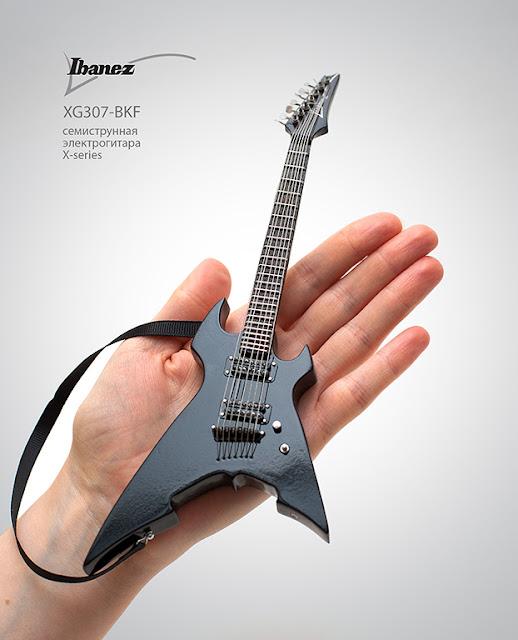 иниатюрная копия гитары Ibanez XG307-BKF. Ручная работа. Hande made. Кирилл Росляков