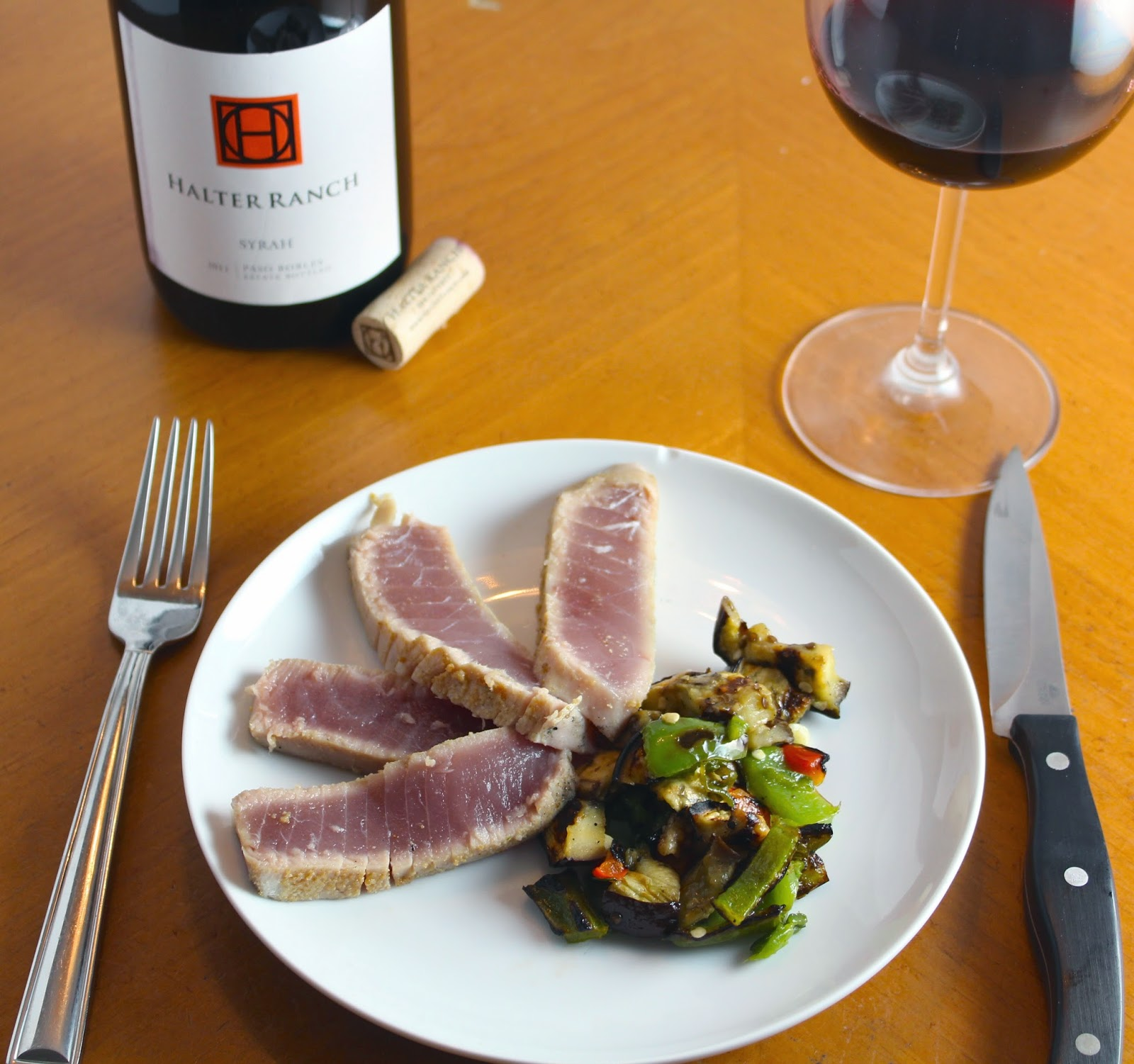 Grilled Tuna with Eggplants and Peppers Served with a Halter Ranch Syrah. Cooking Chat recipe.