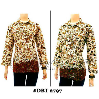 DBT2797 - Baju Bluse Batik Wanita Terbaru 2013