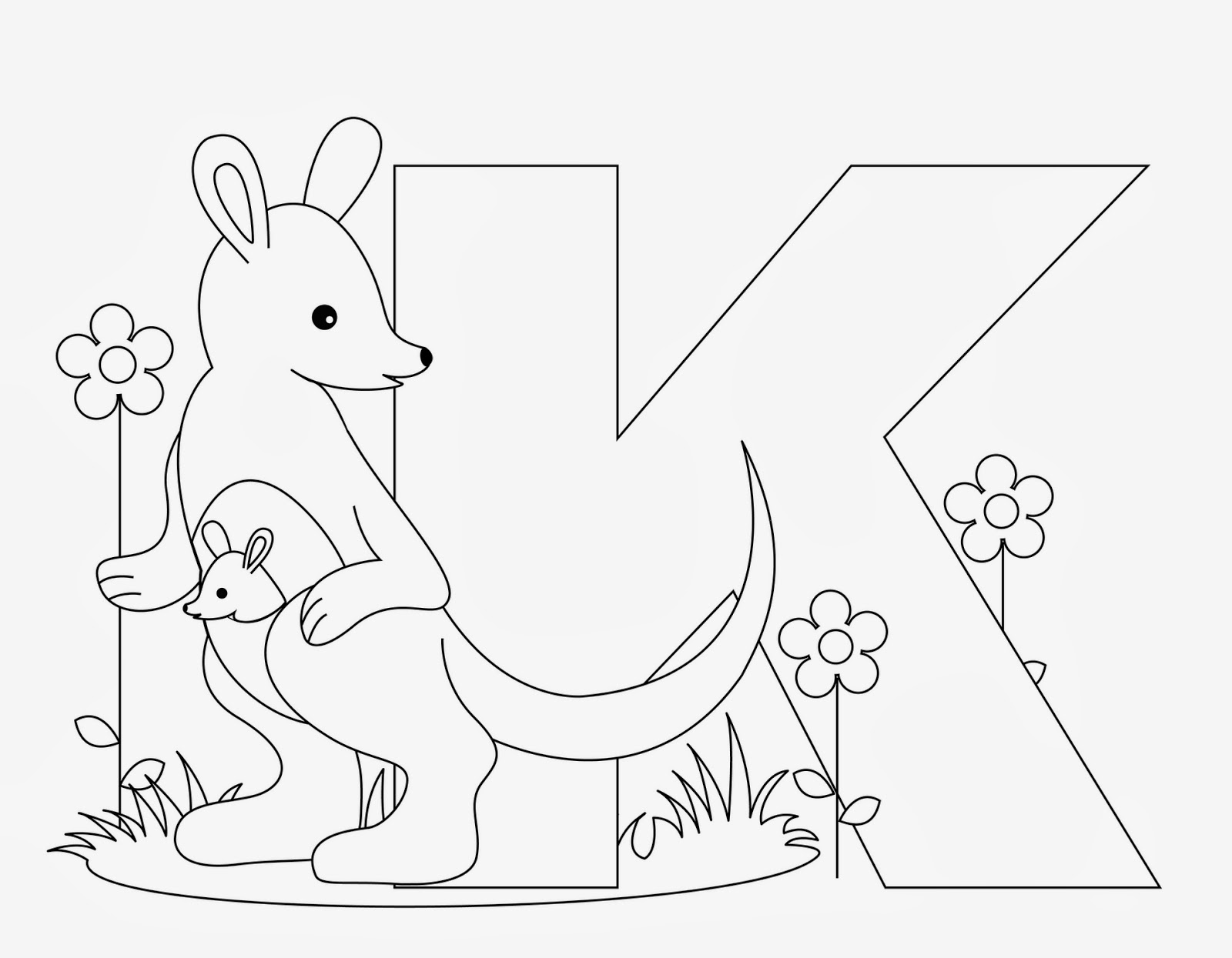 Printable Alphabet Coloring Pages Kangaroo