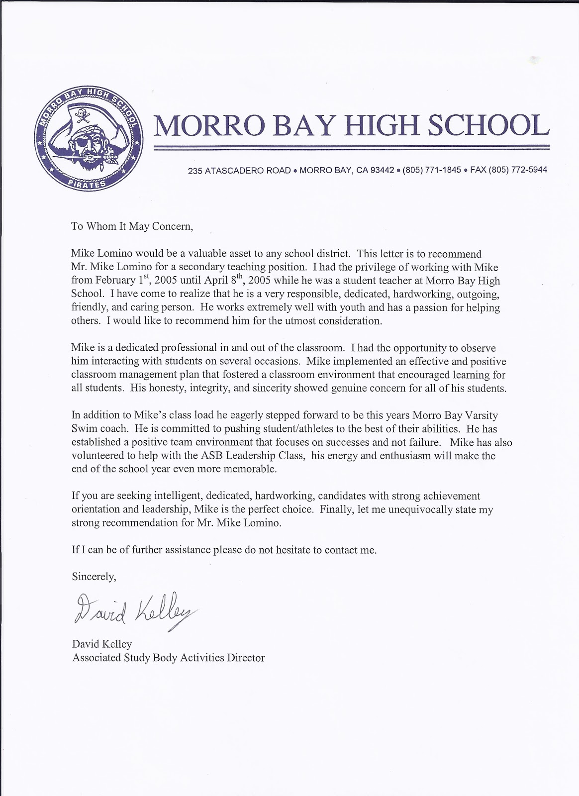 Student Athlete Recommendation Letter Pablo Penantly Co