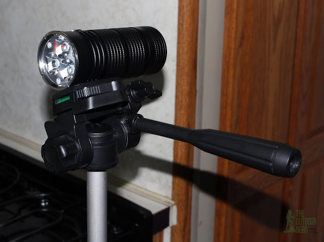 Lumintop PS03 4x18650 Flashlight - Mounted On Tripod
