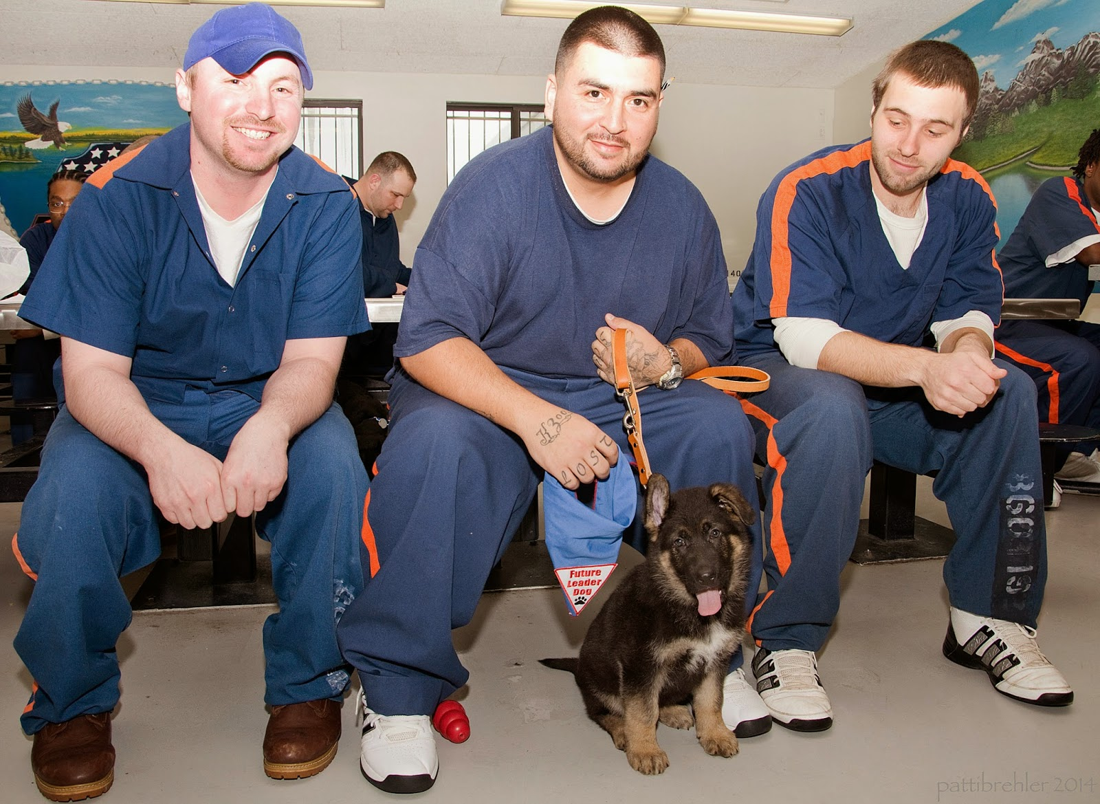Three men dressed in prison blue uniforms sit side by side on lunchroom stools. The man on the left has his forearms on his knees and is wearing a blue baseball hat, he is smilling at the camera. The man in the middle is holding the leash of a small german shephard puppy who is sitting between his feet on the floor. The man is holding the blue Future Leader Dog blue bandana in is right hand hanging down next to the puppy. This man is grinning at the camera. The man on the right also has his forearms on his knees and he is looking at the puppy. There are a few men in the background.