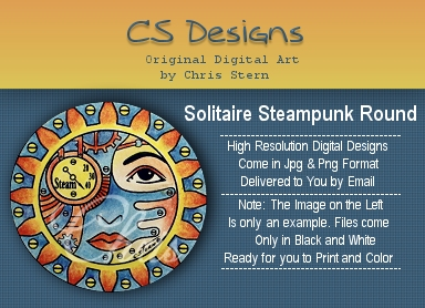 Solitaire Heavy Metal Steampunk Digital Stamp