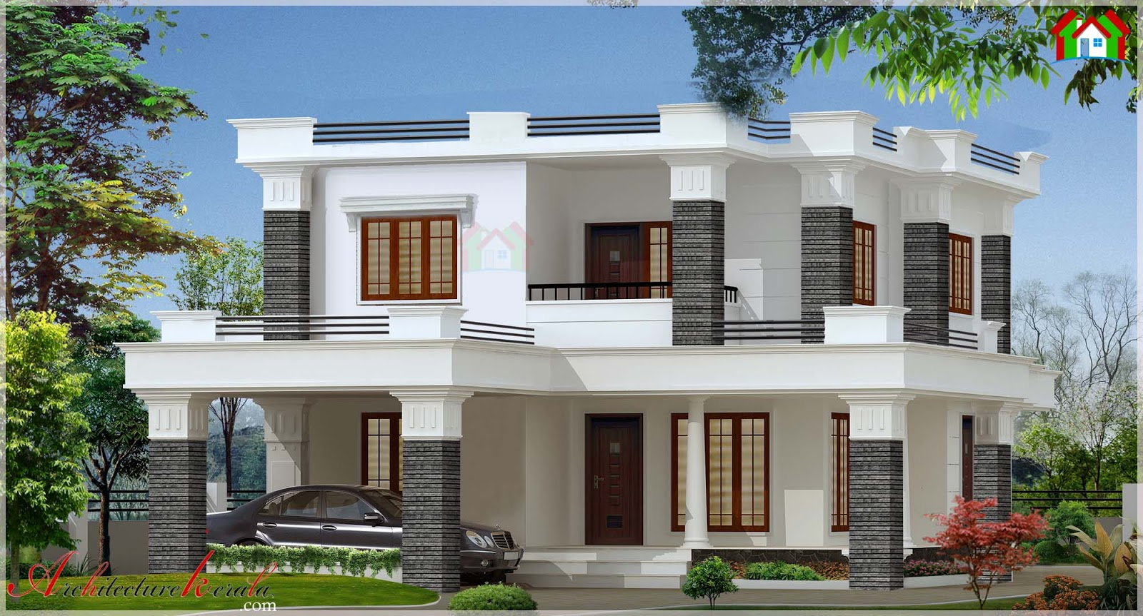 2000 square feet contemporary style elevation for Contemporary house elevation in kerala