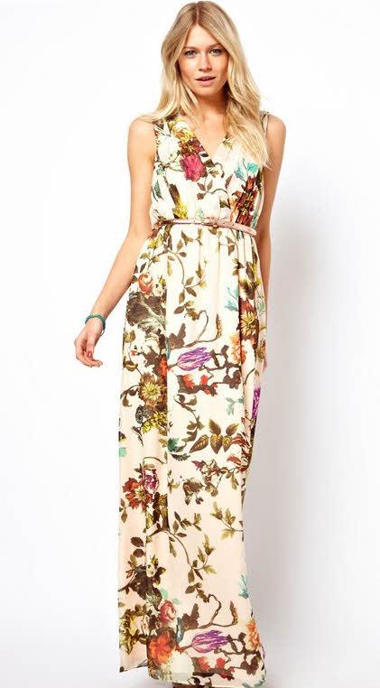 cicekli+uzun+parti+elbisesi 2013 Çiçekli elbise modelleri