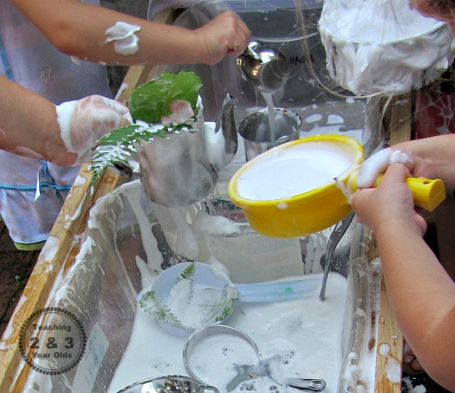 soap and water sensory play