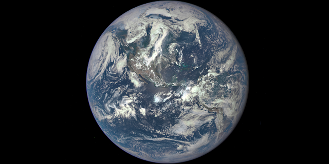 Earth as seen on July 6, 2015 from a distance of one million miles by a NASA scientific camera aboard the Deep Space Climate Observatory spacecraft. Credits: NASA