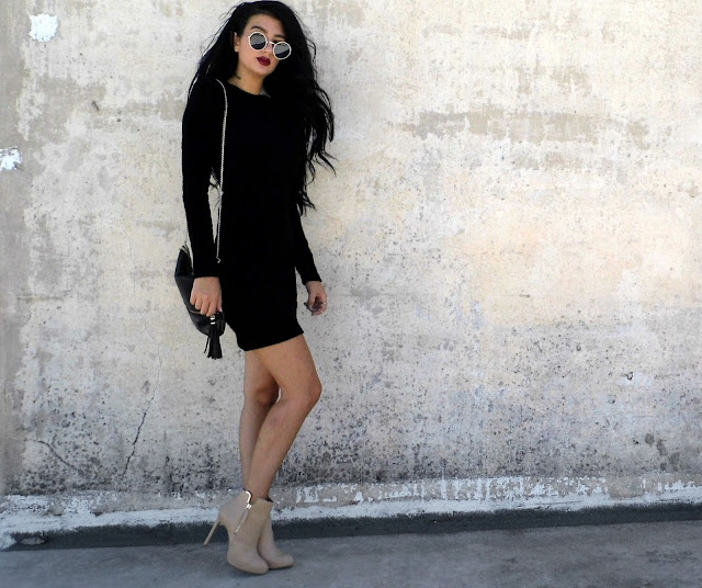 bodycon black dress outfit
