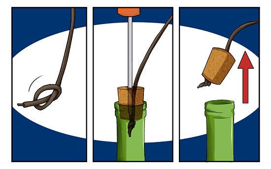 как открыть бутылку шнурком без штопора