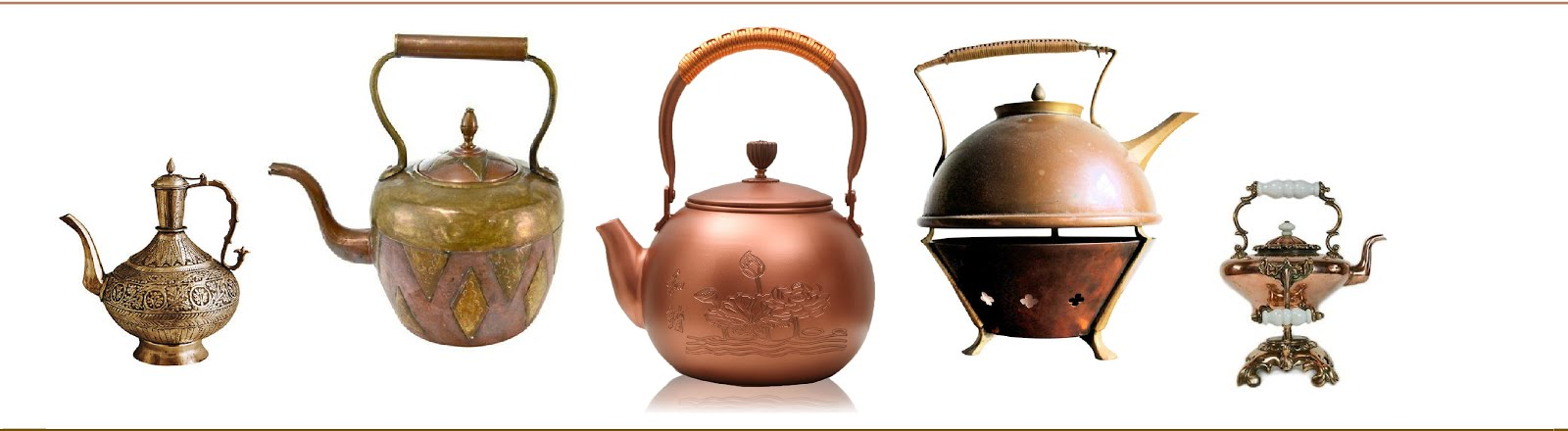 COPPER AND BRASS TEAPOTS