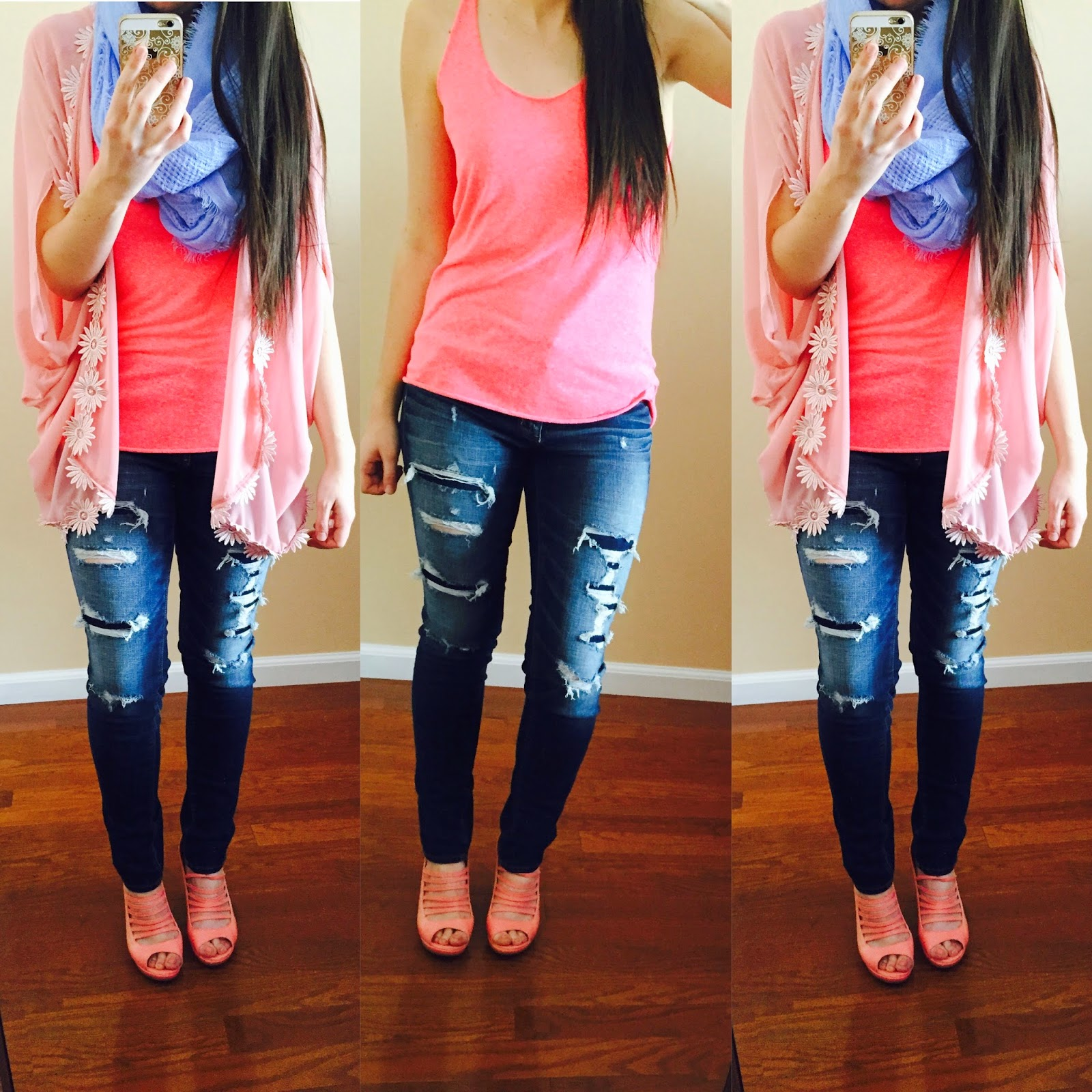 lookbook store floral kimono, lookbook store, pink tank top, blue scarf, destroyed denim, pink sandals,
