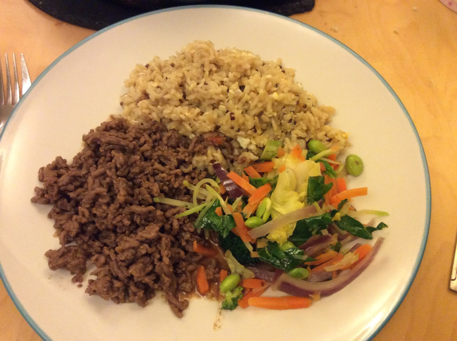 korean beef bowl, stir fried vegetables, brown rice and quinoa