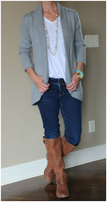 Fashion blogger wearing an open front cardigan, fall 2015, casual outfit inspiration, look for less