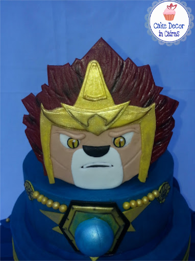 Lego Chima Laval Fondant Topper Cake, decorated in Blue Colored Ganache by Cake decor in Cairns Recipe