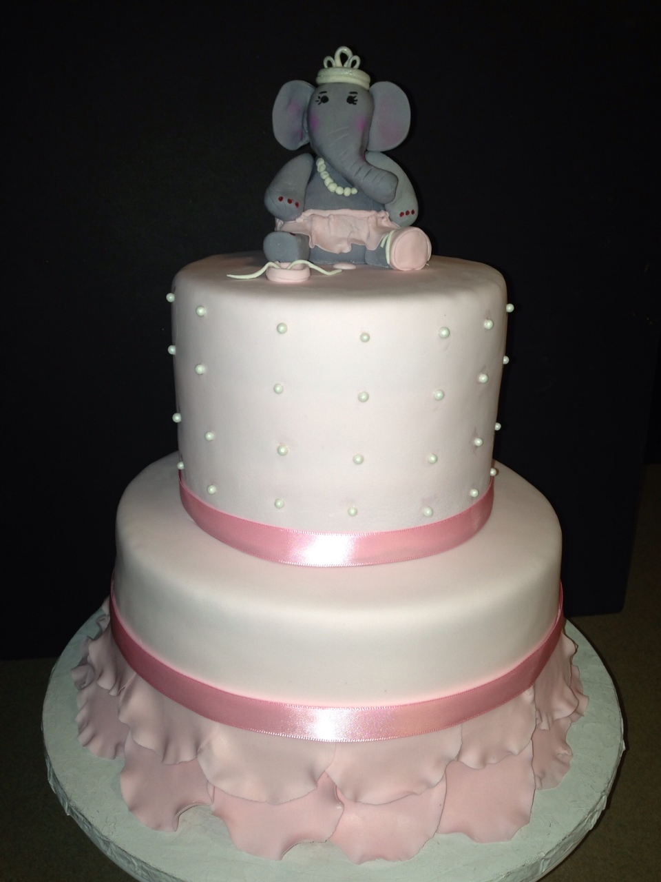 ballerina elephant baby shower cake