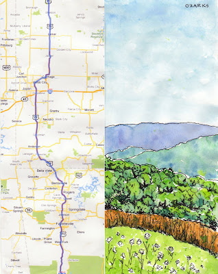 artist travel journal page Ozark mountains