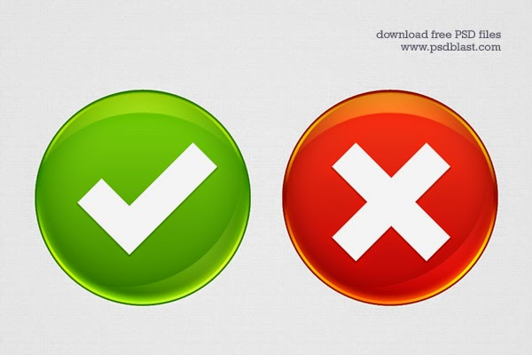Accept and Delete Web Buttons PSD