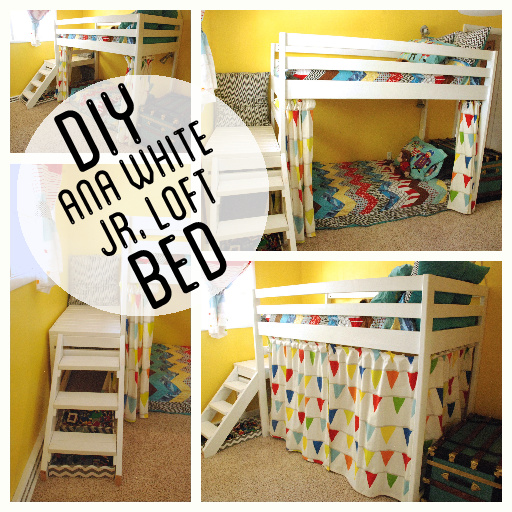 Kids Wood Loft Bunk Bed with stairs and curtain