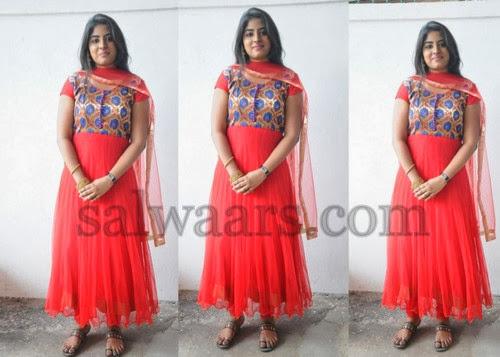 New Actress Mirchi Red Salwar